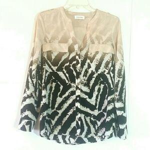 Calvin Klein {Ombre Printed Button Down Blouse} S